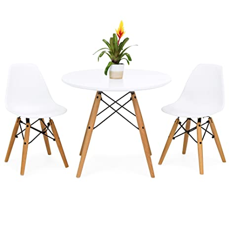 Best Choice Products Kids Mid-Century Modern Eames Style Dining Room Round  Table Set w/ 2 Armless Chairs - White