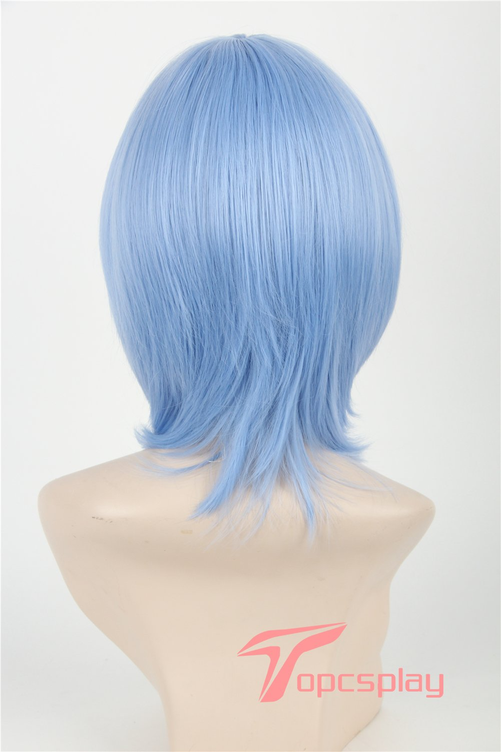 Topcosplay Short Straight Anime Cosplay Wigs Natural Halloween Costume Party Daily Hair Light Blue by Topcosplay (Image #4)
