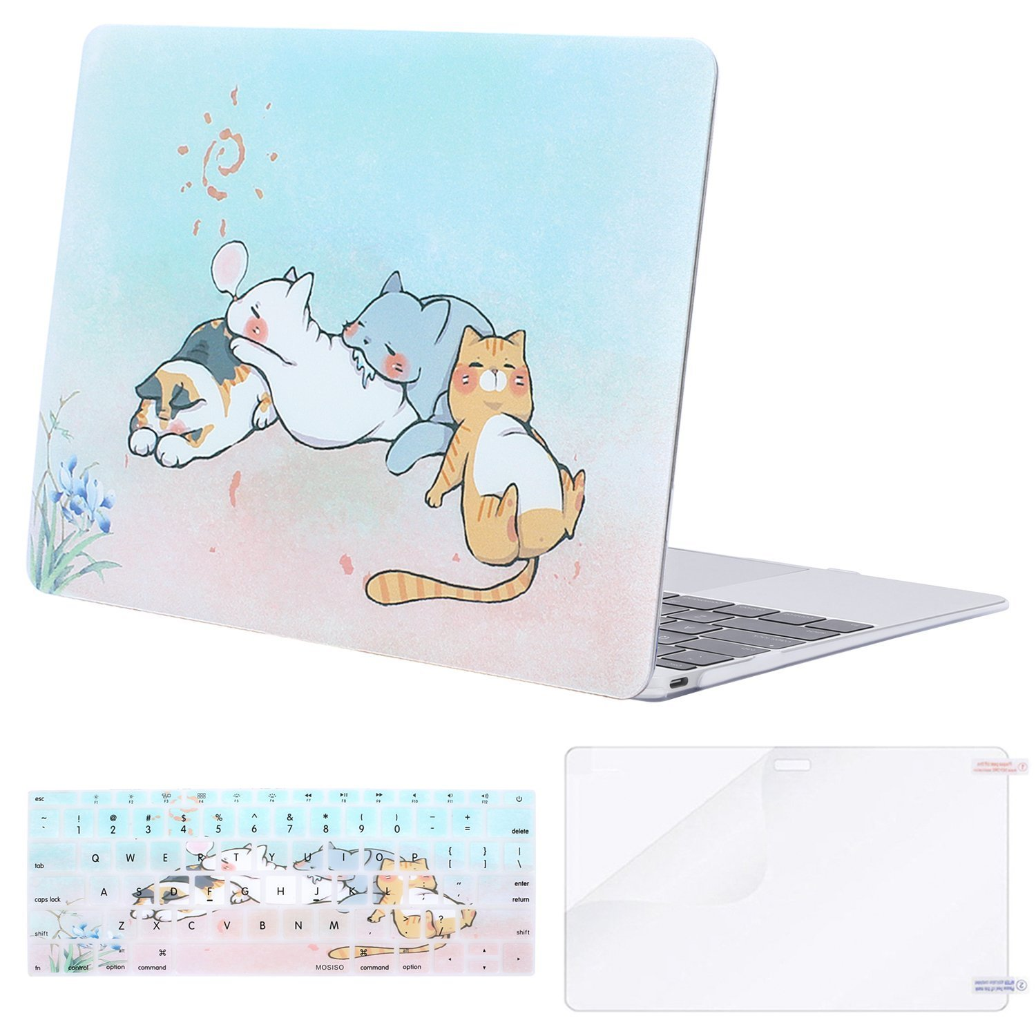 Mosiso Plastic Hard Case with Keyboard Cover with Screen Protector for Macbook 12 Inch with Retina Display A1534 (Newest Version 2017/2016/2015), Crystal Clear