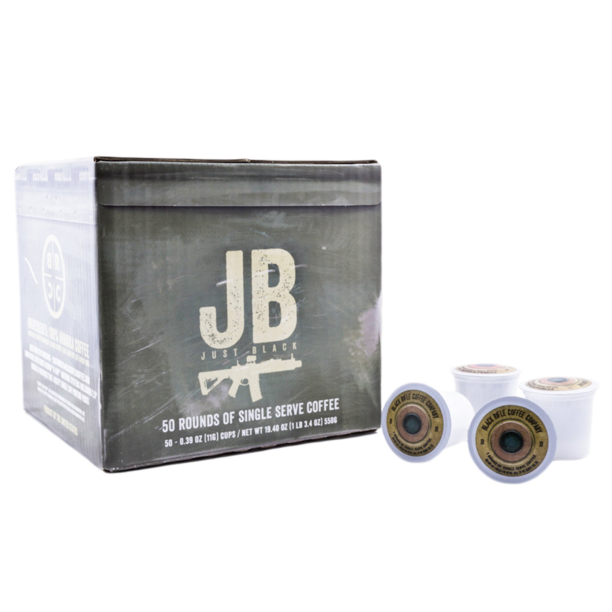 Black Rifle Coffee Company JB Just Black Coffee Rounds for Single Serve Brewing Machines (50 Count) dark Roast Coffee Pods Cups