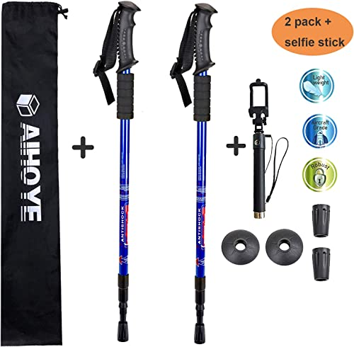 Aihoye Hiking Trekking Poles, 2 Pack Collapsible,Lightweight, Anti Shock, Hiking or Walking Sticks,Adjustable Hiking Pole for Men and Women with Extendable Selfie Stick