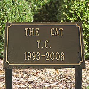 Slate Pet Bronze/Gold Three Line Lawn Memorial Plaque