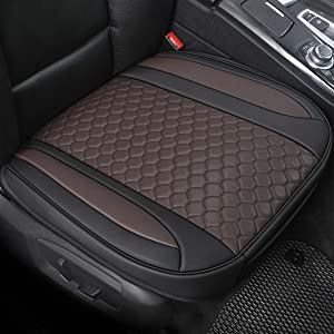 Black Panther 1 Piece Luxury PU Leather Car Seat Cover for Front Seat (Bottom),Compatible with 90% Vehicles - Mixed Chocolate (21.26×20.86 Inches)
