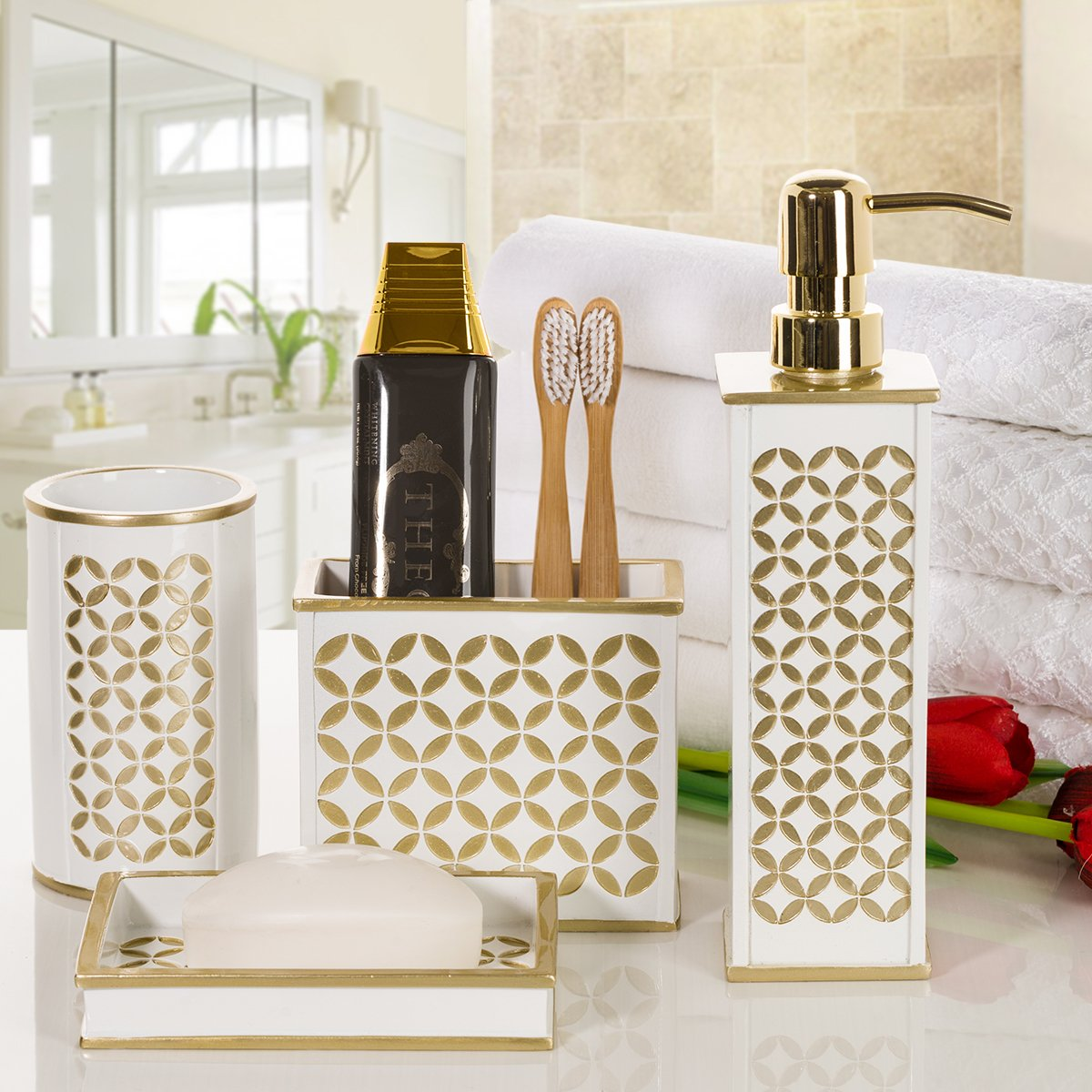 Amazon.com: Diamond Lattice 4Pc Bath Accessory Sets- Decorative ...