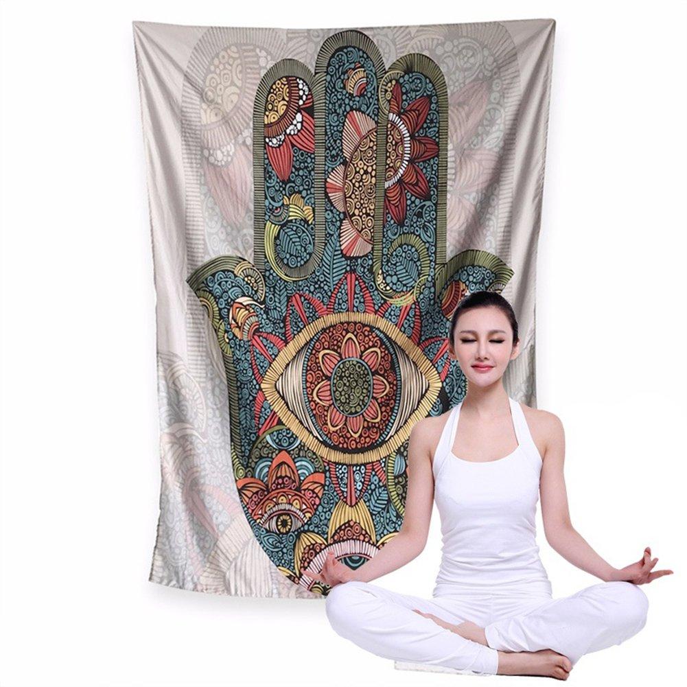 AkoMatial Stylish Art Hamsa Fatima Hand Wall Hanging Tapestry Yoga Mat Picnic Blanket Bedroom Decor