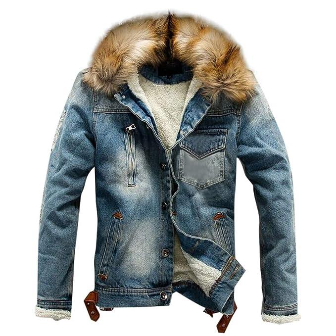 Amazon.com: Mens Denim Jacket with Fur Collar Long Sleeve Warm Thick Coat for Autumn Winter MODOOQ: Clothing