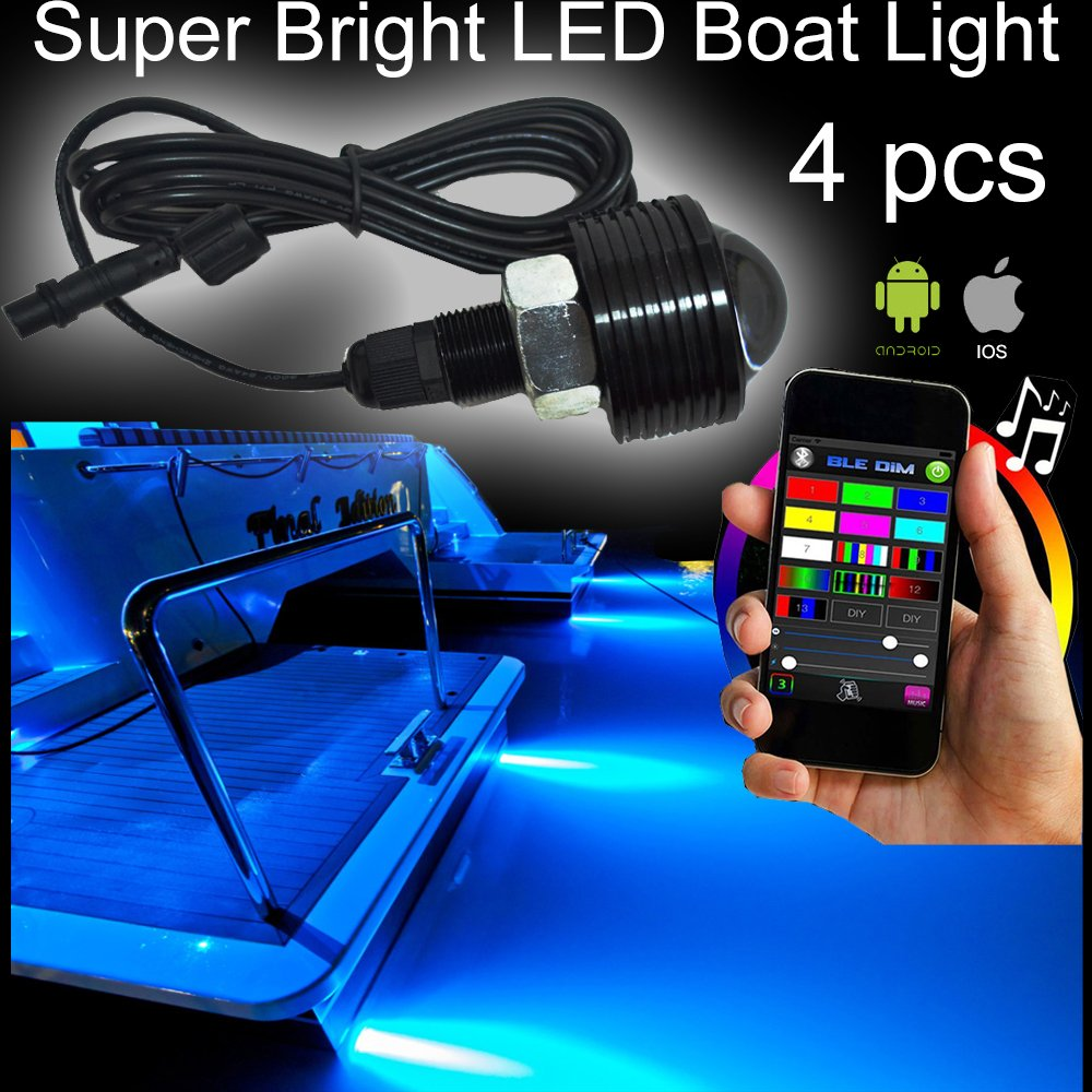 NBWDY 4pc RGB 108W COB LED Boat Light Pod LED Bluetooth Music Apps Control Million Color Marine Bolt Light by NBWDY
