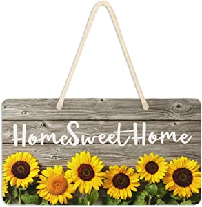Welcome Sign Front Porch Decor - Sunflower Wood Front Door Decor Wall Plaque House Wood Home Sweet Home Sign Porch Decorations Home Decor Hanging