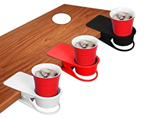Bestsupplier 3 Pack Desk Side Bottle Cup Stand The DIY Glass Clamp Storage Saucer Clip Water Coffee Mug Holder Clip Design, (Red, Black and White)
