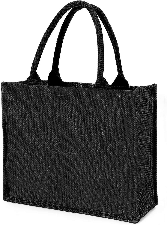 Jute Tote Bags, Segarty Burlap Bags with Laminated Interior and Soft Handles