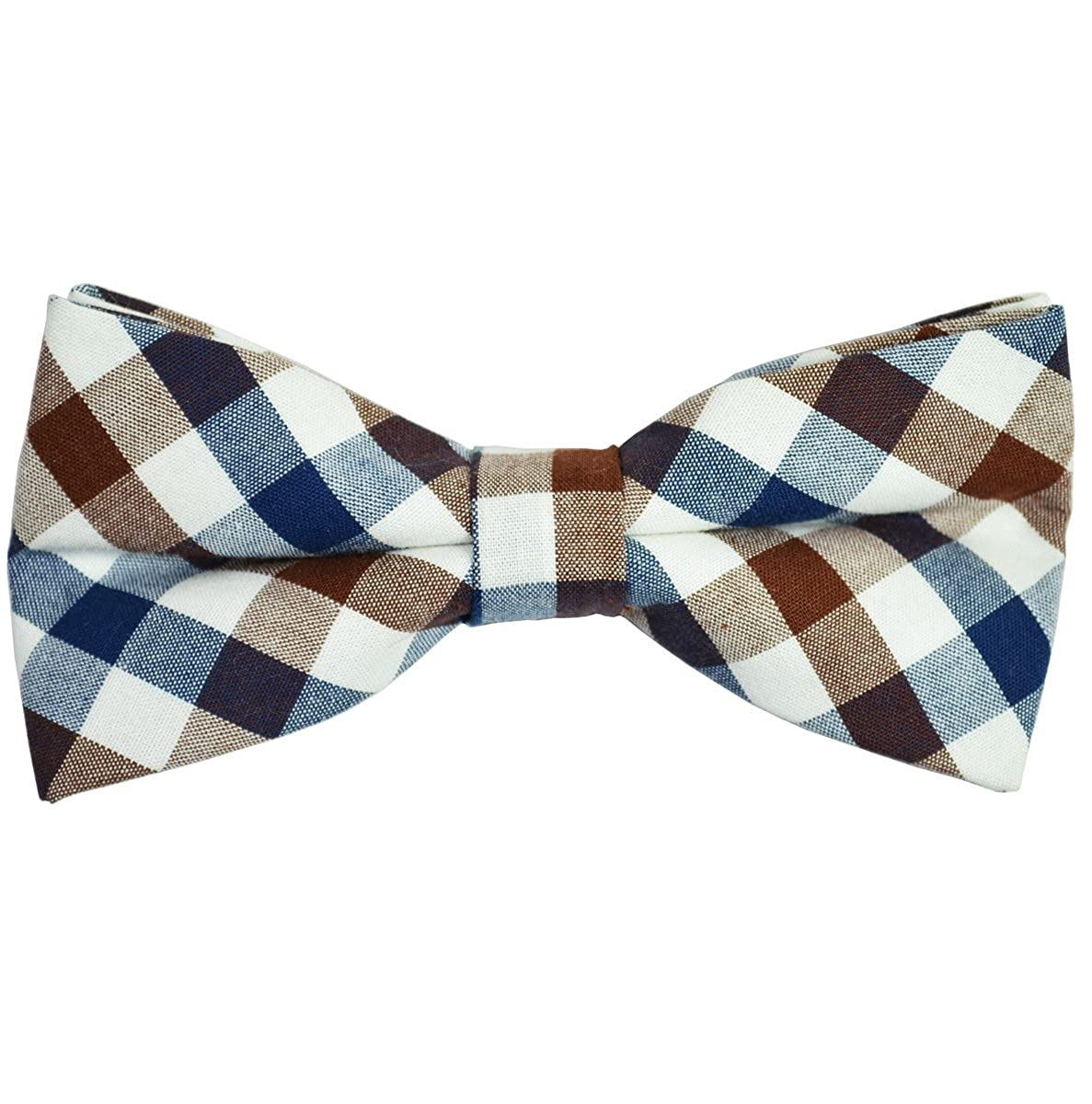 Paul Malone Cotton Bow Tie Navy Brown and White