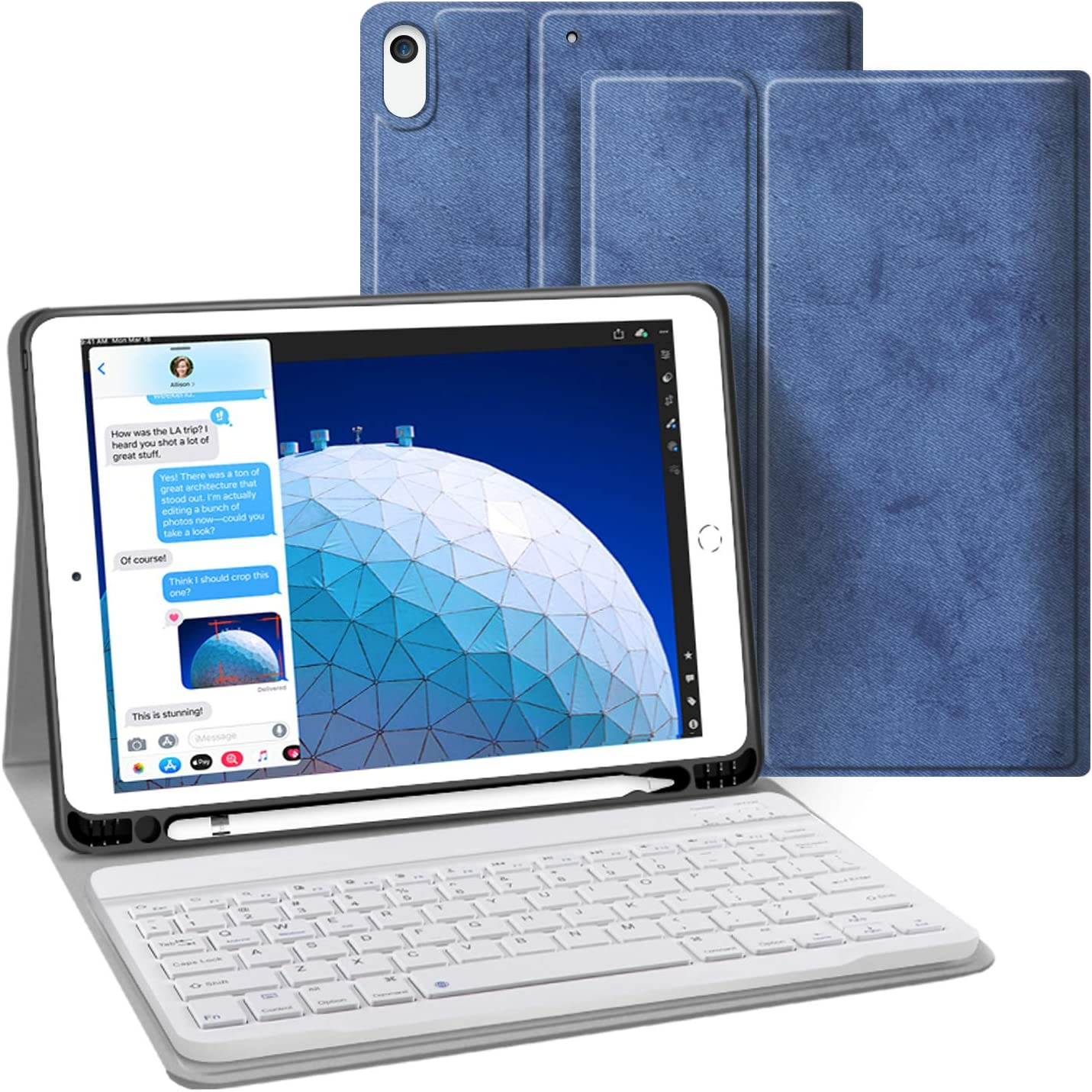 iPad Keyboard Case for iPad 10.5, iPad Air 3 10.5 2019 3rd Gen iPad Pro 10.5 2017 JUQITECH Smart Case with Keyboard Detachable Wireless Keyboard Magnetically Case Cover with Apple Pencil Holder, Blue