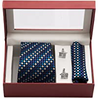 VIBHAVARI Men's Silk Cotton Tie, Pocket Square and Cufflinks Set (Blue, Free Size)