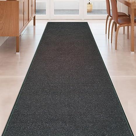 6bf32c480e3 Amazon.com  Kapaqua Black Solid Plain Rubber Backed Non-Slip Hallway Stair Kitchen  Runner Rug Carpet 22in X 8ft  Kitchen   Dining