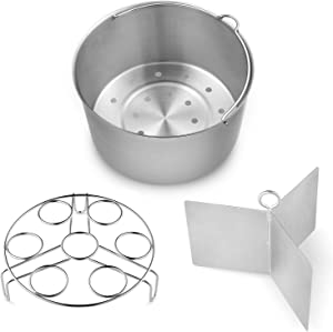 Vookoon Steamer Basket, 304 Stainless Steel Steamer for Instant Pot, Food Steamer with Durable Construction, Removable Dividers and Egg Rack Trivet Included, Fits 6/8 qt Instant Pot Pressure Cooker