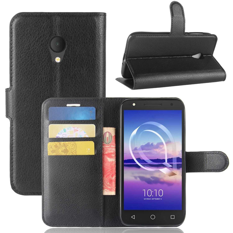 Guran® Funda de Cuero PU Para Alcatel U5 HD Smartphone Función de Soporte con Ranura para Tarjetas Flip Case Cover Caso-negro Alcatel U5 HD-3