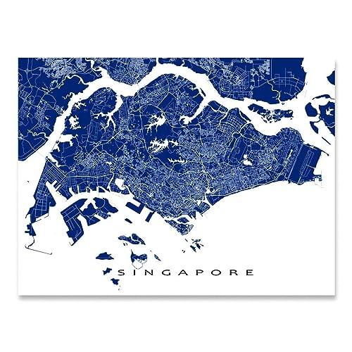 Amazon com: Singapore Map Print, Singapore City Art Poster, Asia