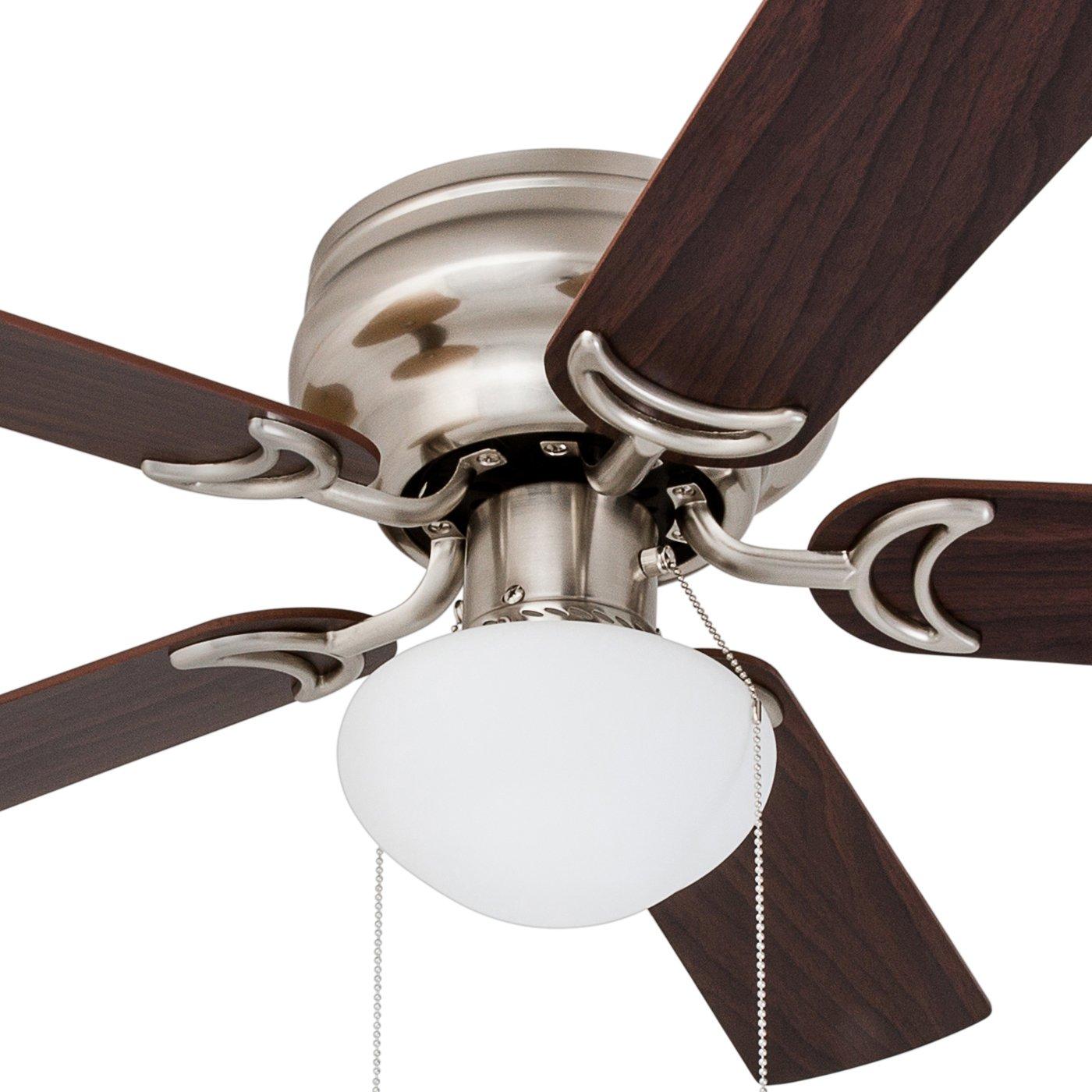 Prominence Home 80092-01 Alvina Ceiling Fan Farmhouse White LED Globe Light Hugger//Low Profile 42 Barnwood // White Blades
