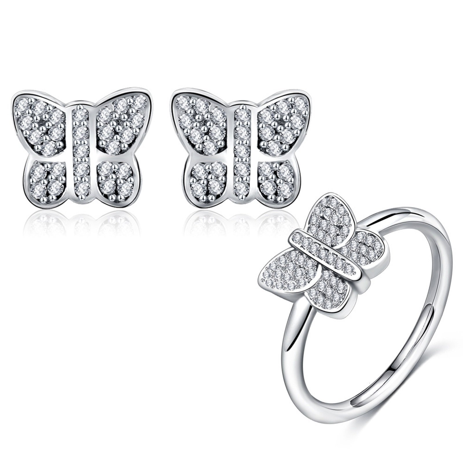 AnaZoz 2PCS Jewelry Set S925 Silver Butterfly Engagement Ring CZ Stud Earring Set for Women Birthday Gift with Gift Box Size 7