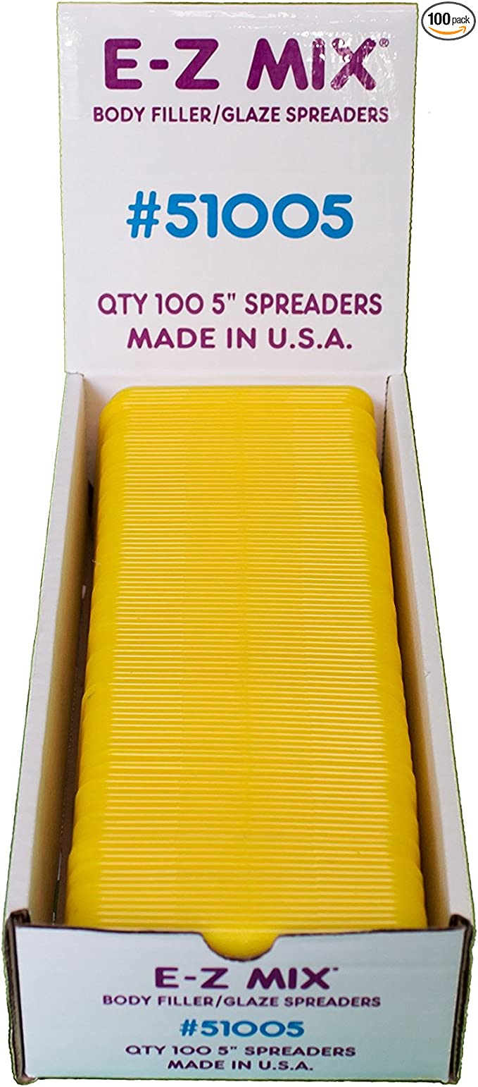 """20 E-Z Mix 51005 5/"""" Yellow Bondo Spreaders"""