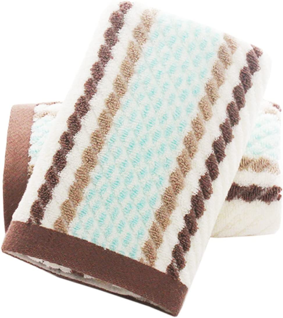 Pidada Hand Towels Set of 2 Striped Pattern 100% Cotton Super Soft Highly Absorbent Hand Towel for Bathroom 13 x 28 Inch (Brown)
