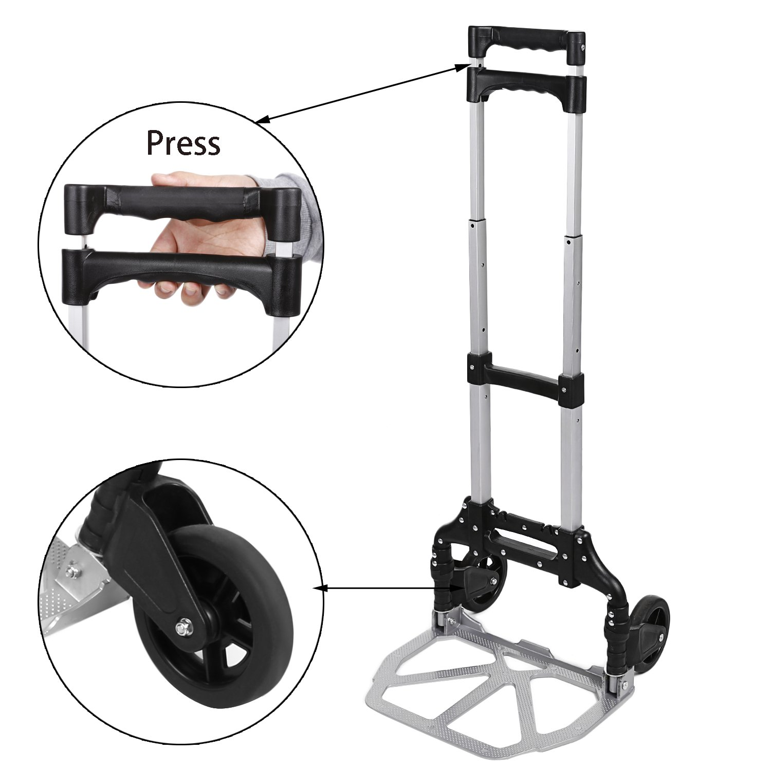 Voluker Portable Heavy Duty Aluminum Folding Hand Truck and Dolly Two-Wheel Luggage Cart (150 LB)