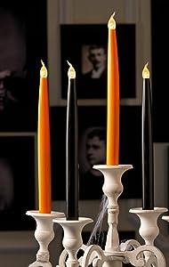 "Halloween Flickering Flameless Child Pet Safe Candles LED 10"" Taper 4 Pc Set Orange & Black in Gift Boxes"
