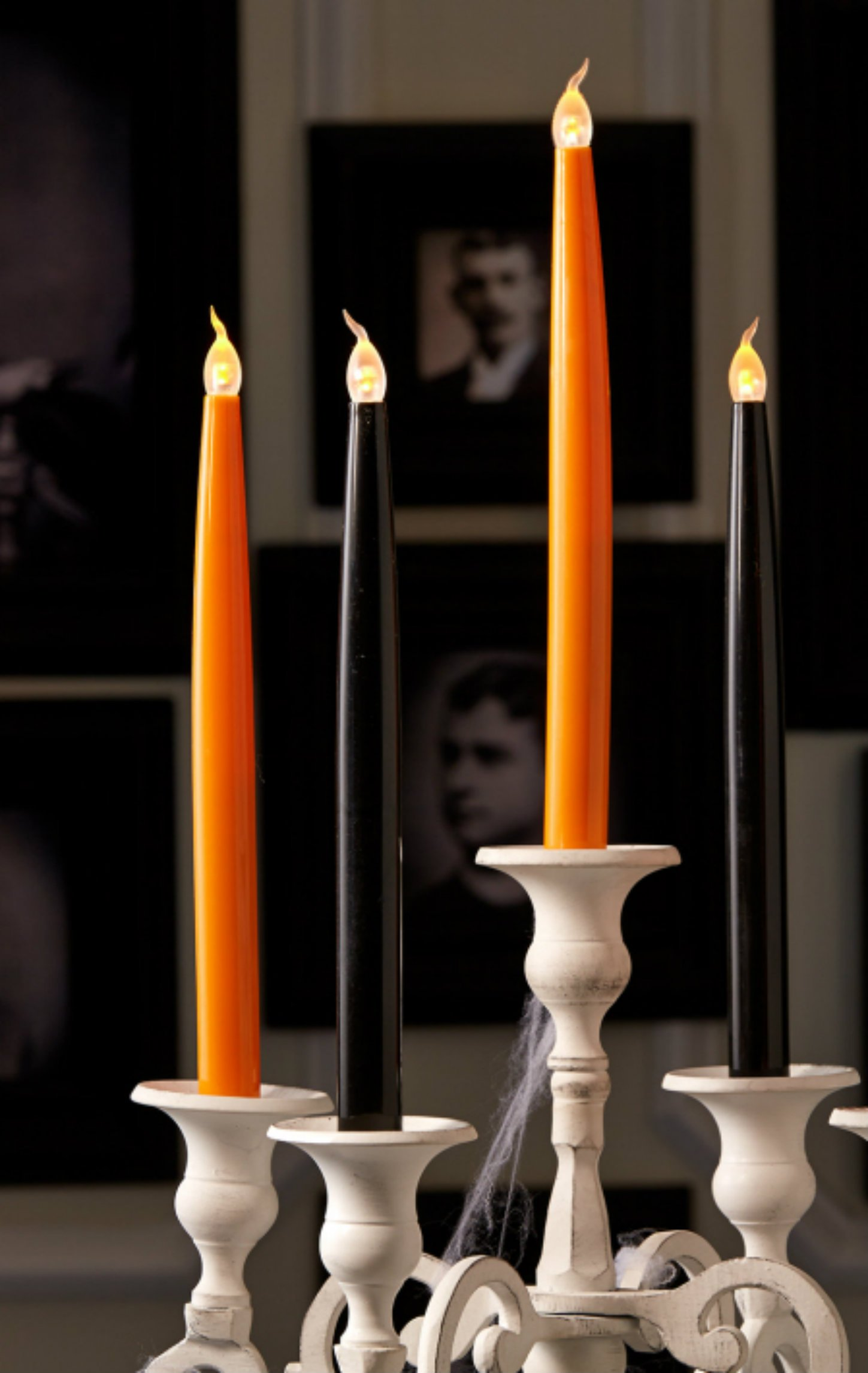 Halloween Flickering Flameless Child Pet Safe Candles LED 10'' Taper 4 Pc Set Orange & Black in Gift Boxes by Two's Company