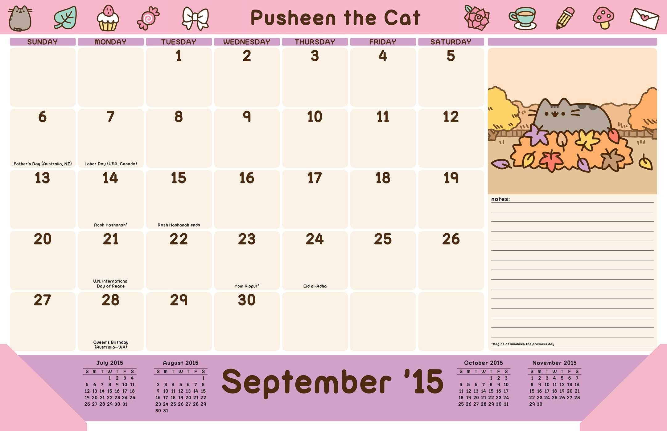 Pusheen the Cat 2015-2016 16-Month Desk Pad Calendar: Amazon ...