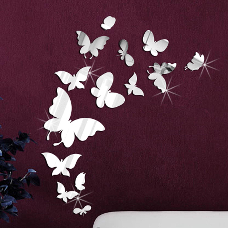 Walplus - Adesivi da parete, a forma di farfalla, a specchio, 14 ...