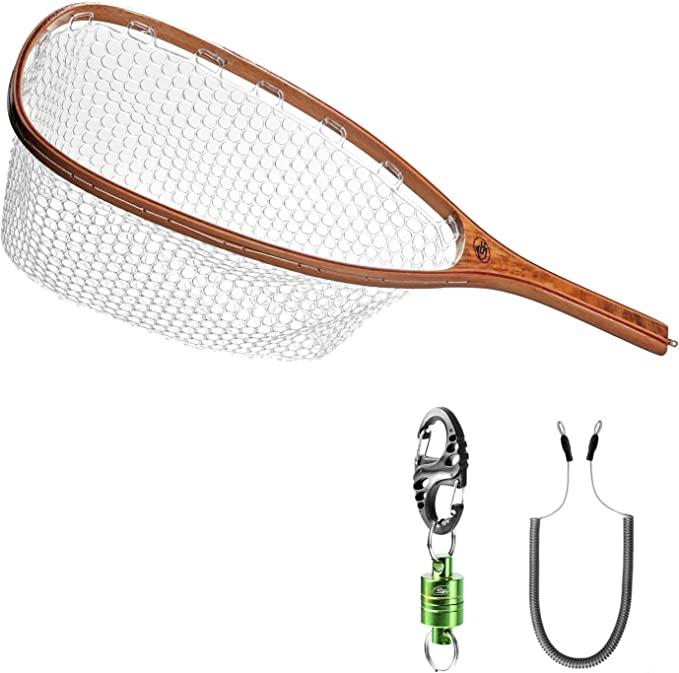 Details about  /US NEW Lures Fly Fishing Landing Net Clear Rubber Replacement Bag Middle Large