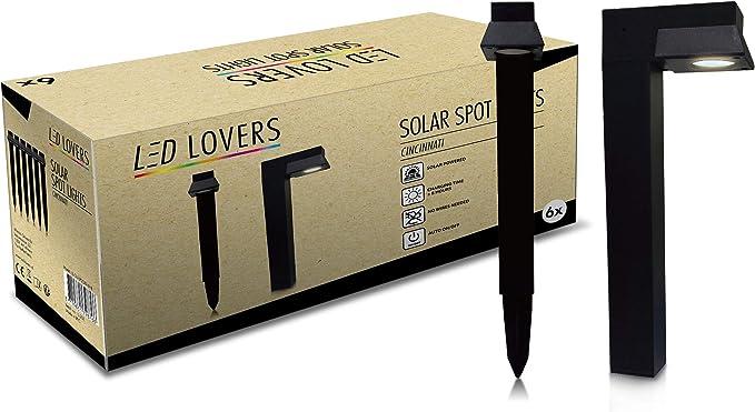 LED LOVERS Poste de Luz Solar LED de jardín, Juego de 4, Balizas impermeables Para uso al exterior, jardín, terraza, césped, piscina: Amazon.es: Iluminación