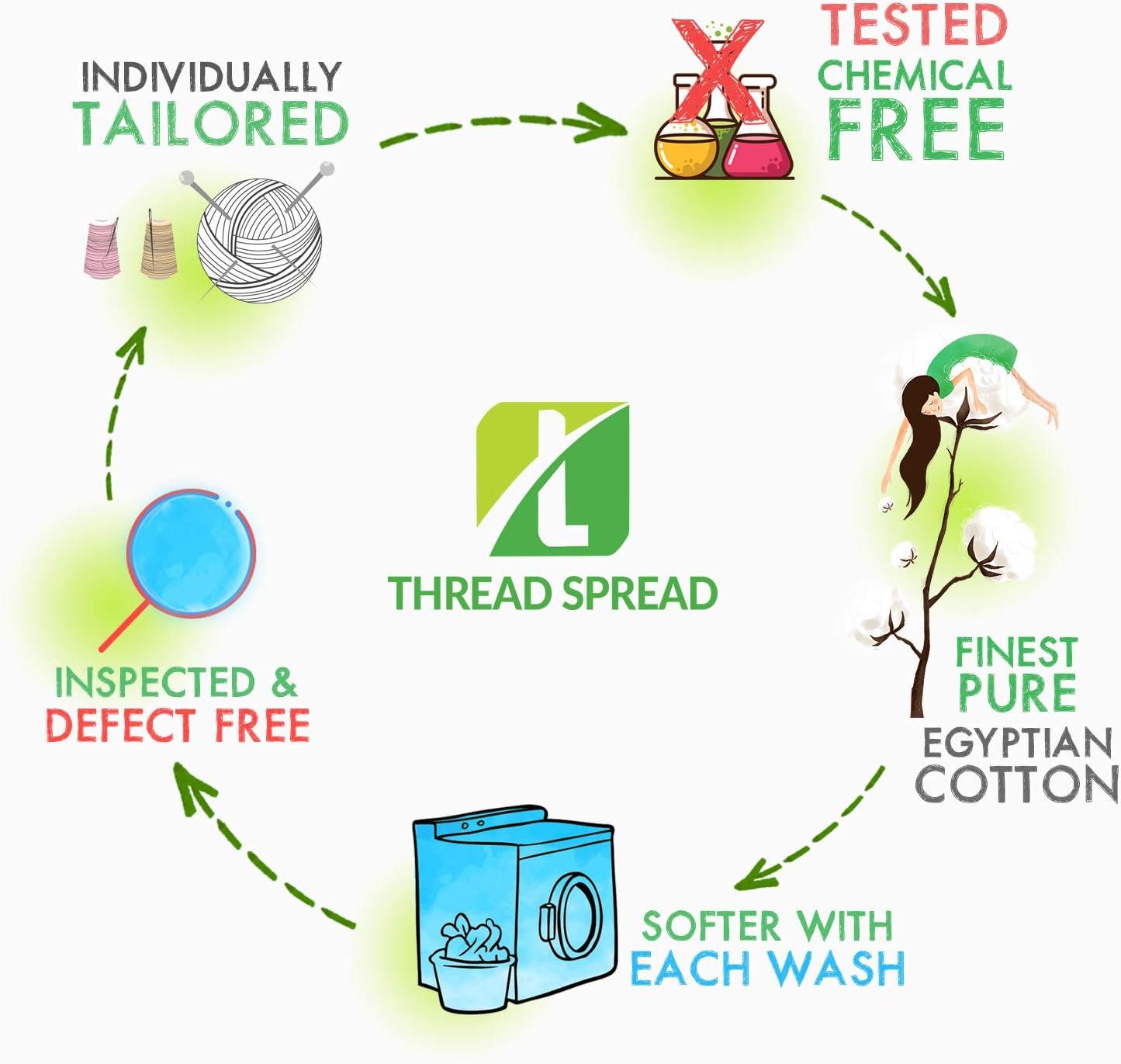 THREAD SPREAD True Luxury 100% Egyptian Cotton - Genuine 1000 Thread Count 4 Piece Sheet Sets - Fits Mattress Upto 18'' Deep Pocket (King, Dark Grey): Home & Kitchen