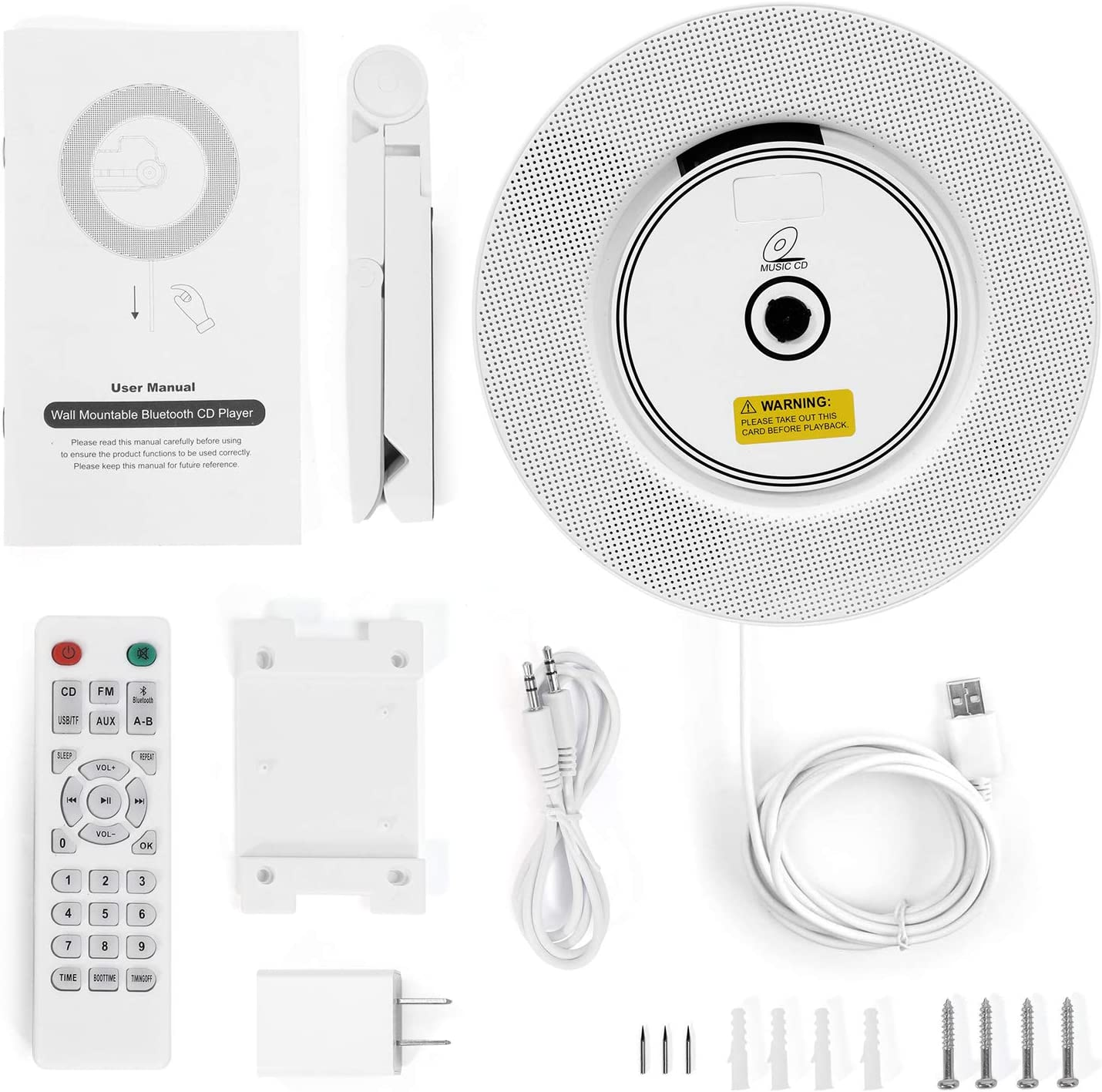 Tragbarer CD Player Bluetooth an der Wand montierbaren mit Fernbedienung f/ür Kinder,FM-Radio Eingebauter HiFi-Lautsprecher wei/ß unterst/ützt USB//MP3//3,5 mm Kopfh/örerbuchse//