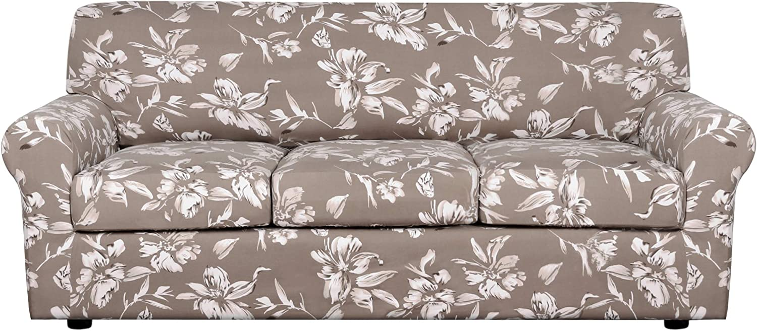 H.VERSAILTEX Super Stretch 4 Pieces Sofa Slipcover for 3 Cushion Couch– Lily Floral Printed Sofa Cover Soft Couch Cover Spandex Non Slip Furniture Protector with Elastic Bottom Washable-Sofa, Taupe