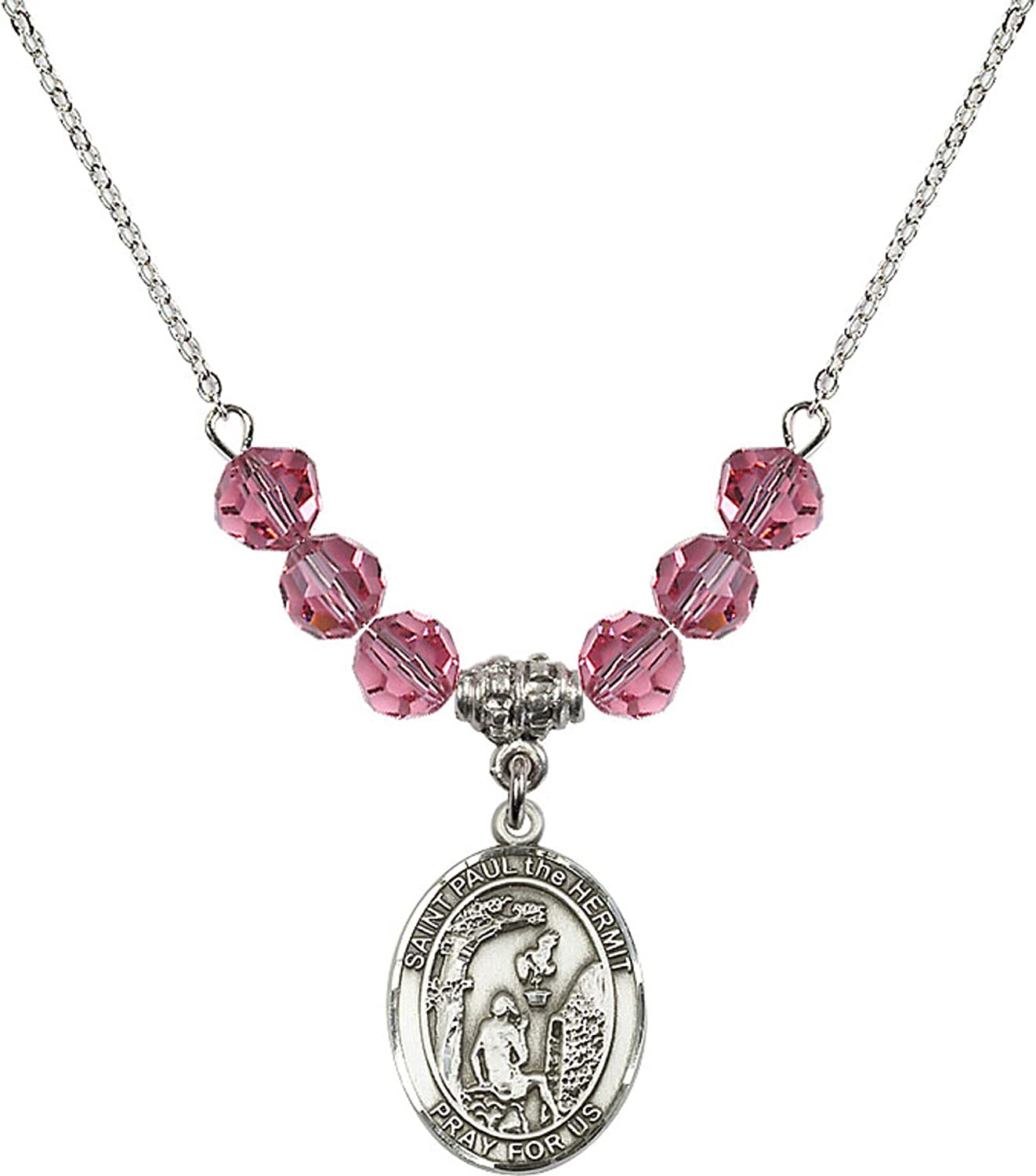 Bonyak Jewelry 18 Inch Rhodium Plated Necklace w// 6mm Rose Pink October Birth Month Stone Beads and Saint Paul The Hermit Charm