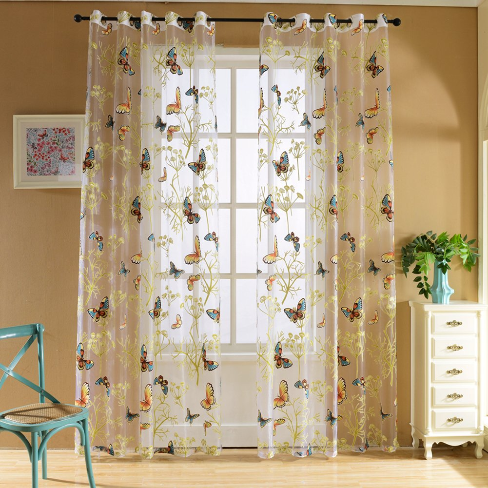 Amazon.com: Edal Butterfly Floral Sheer Window Curtains Voile Decor Tulle  Valance Curtain: Home U0026 Kitchen