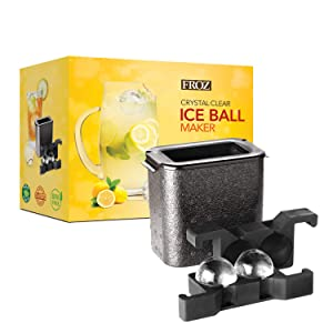 "FROZ Crystal-Clear Ice Ball Maker - 2 Cavity Sphere Ice Mold Makes Two Large 2.35"" Clear Ice Balls"