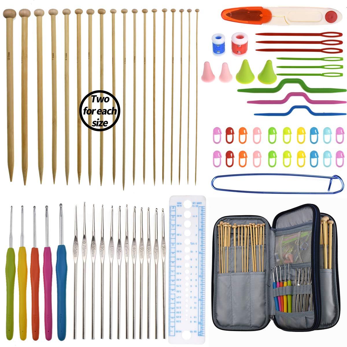 Bamboo Knitting Needles Set 36pcs Carbonized Afghan Needles 5pieces Ergonomic Crochet Hook Set 12 Small Size Aluminum Handle Hook with Sewing Tools Full DIY Craft Kits