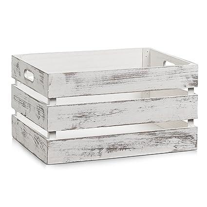 Zeller 15132 Caja de Almacenamiento, Madera, Blanco, 39x29x21 cm