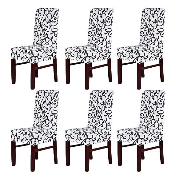 Pack de 6 fundas elásticas para respaldo de silla, lavables, extraíbles, fundas de asiento para hotel, restaurante, sala de comedor, de fiesta: Amazon.es: ...