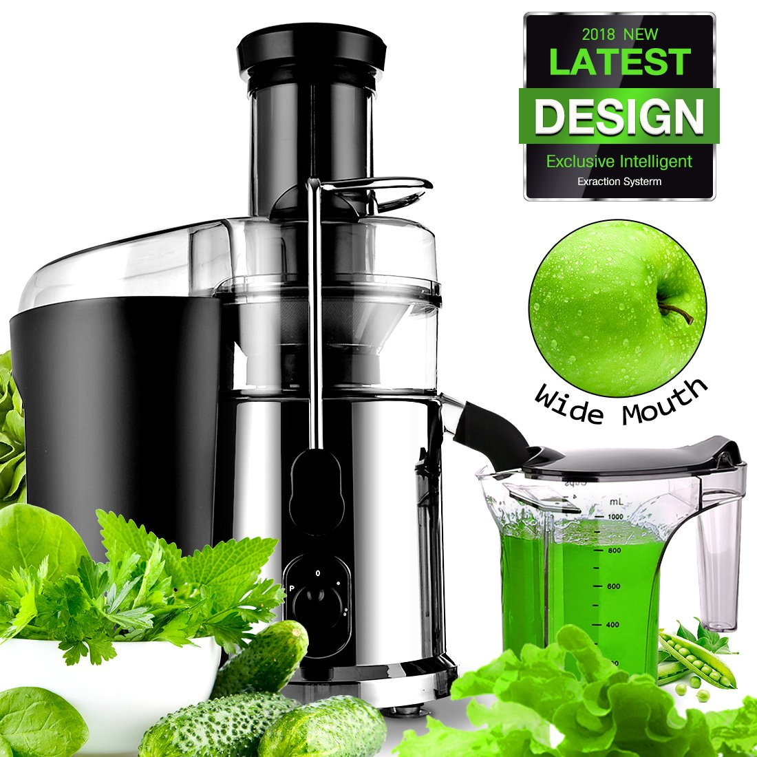 Electric Juicer Centrifugal Juicers Fruit, Veggies, Greens Juice Extractor Juicer with 1Liter Juice Cup Fruit Squeezer 850Watt Juice Maker Stainless Steel for Hard/Soft Fruits and Greens