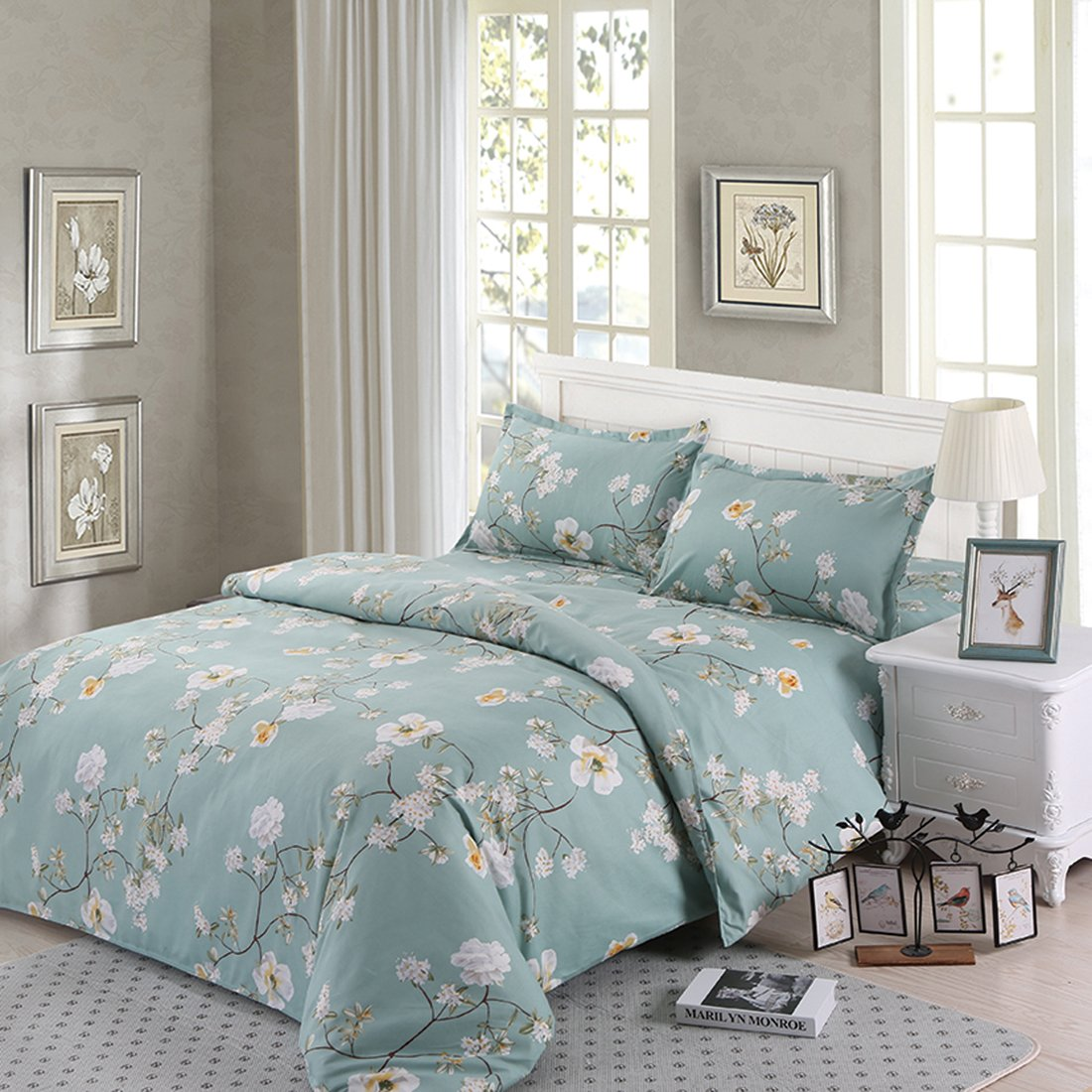 bedding duvet cover set queen 3 pieces 800 thread floral hypoallergenic 611434177116 ebay. Black Bedroom Furniture Sets. Home Design Ideas
