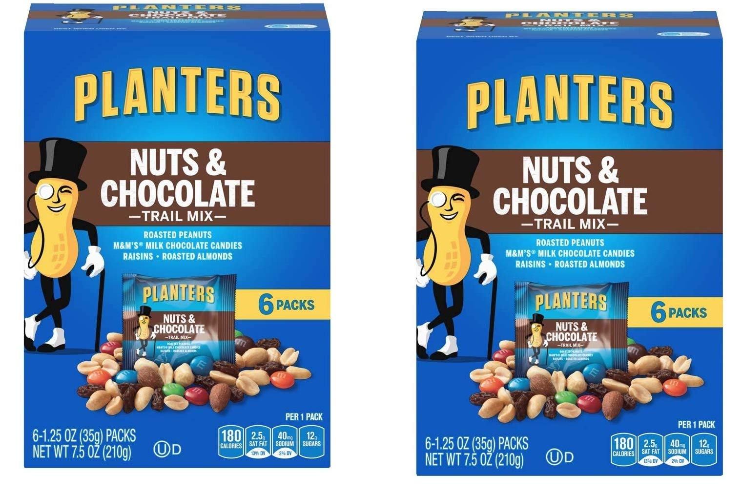 Planters Trail Mix, Nuts and Chocolate MandMs, 7.5 Ounce Box each, 12 Bags Total by Planters (Image #1)