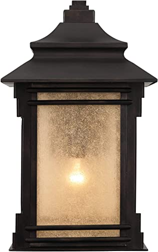Hickory Point Rustic Farmhouse Outdoor Wall Light Fixture Walnut Bronze 19″ Lantern Frosted Cream Gla