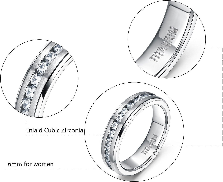 6MM Ladies Eternity Titanium Ring Cubic Zirconia Wedding Band with CZ