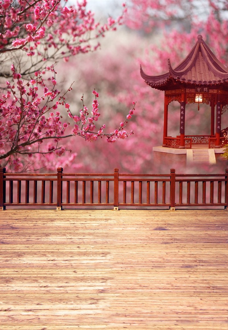 コンピューター印刷写真背景幕 98.4インチ (幅)59インチ (高さ) ピンクフラワー 中国パビリオン 1.52m   B01CKV09WK