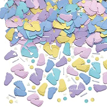 2 Bags Of Baby Shower Confetti Sprinkles Baby Party Table Pitter Patter Feet