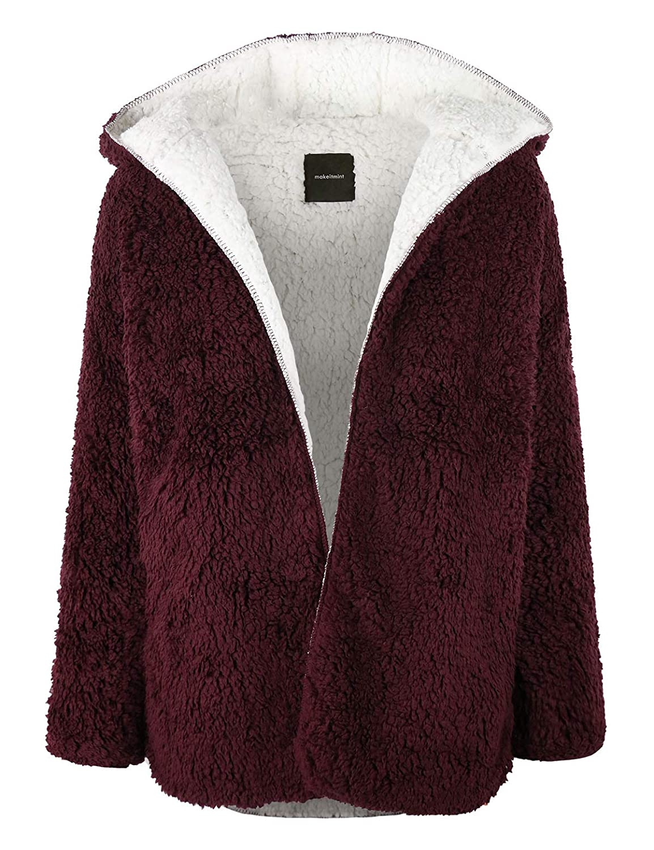[Yjh0042]burgundy makeitmint Women's Reversible Fluffy Soft Faux Fur Hoodie Open Front Jacket