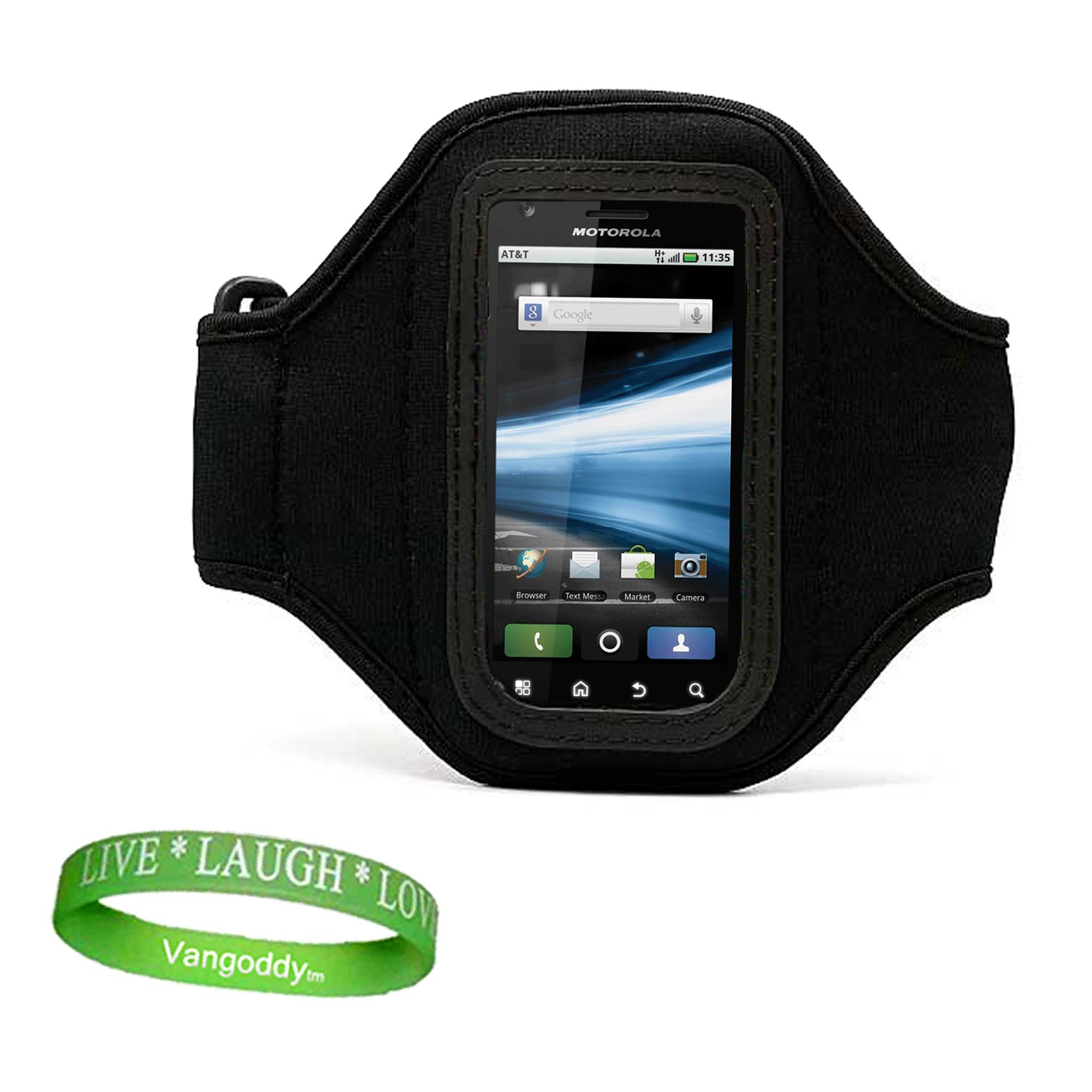 Quality BLACK Motorola Photon 4G Armband with Sweat Resistant lining for Photon 4G (Sprint) Android Phone + Live * Laugh * Love VanGoddy Wrist Band!!!